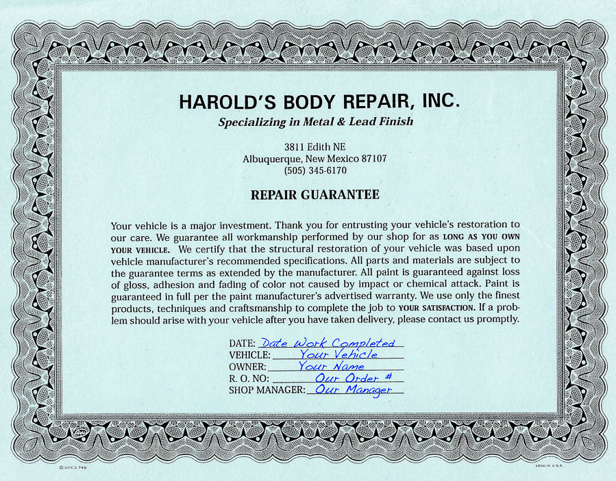 Our Guarantee at Harold\'s Body Repair for the Best Collision ...